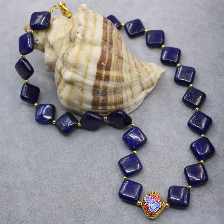 """Rond Bleu 12 mm CLOISONNE 20/"""" Collier long pour femme bijoux avec petite fleur"""