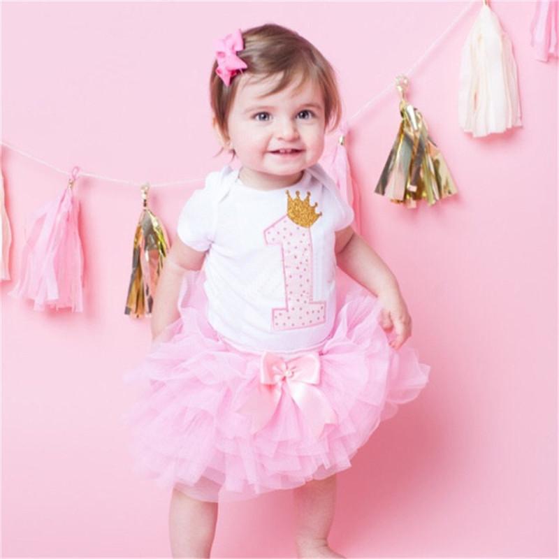 Bebé recién nacido ropa niño Niñas Primer cumpleaños del partido del ...
