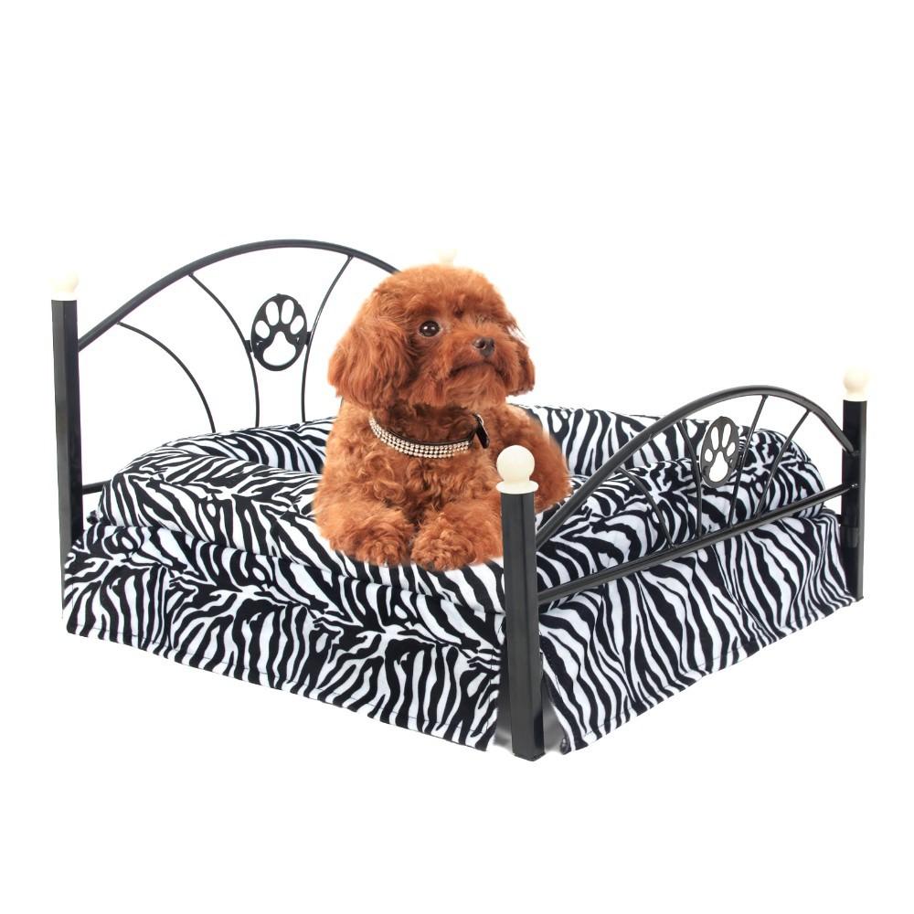 2 colores metal Marcos cama para cachorro de perro cebra/leopardo ...