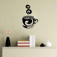 Swirl Coffee Cup cafe vinyl wall art decal stickers ...