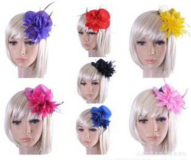 bridal wedding hair accessories hat design barrette with flower and feather cap clips for hair