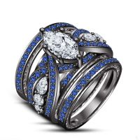 New Blue Sapphire Wedding Engagement Ring Set All Size ...