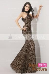 High Neck Leapord Prom Dresses - Eligent Prom Dresses