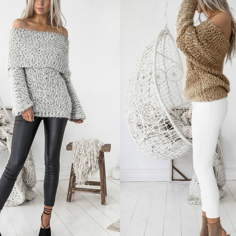 ⑧draped Fuzzy Slouchy Women Sweater Cowl Neck Off Shoulder Knitted