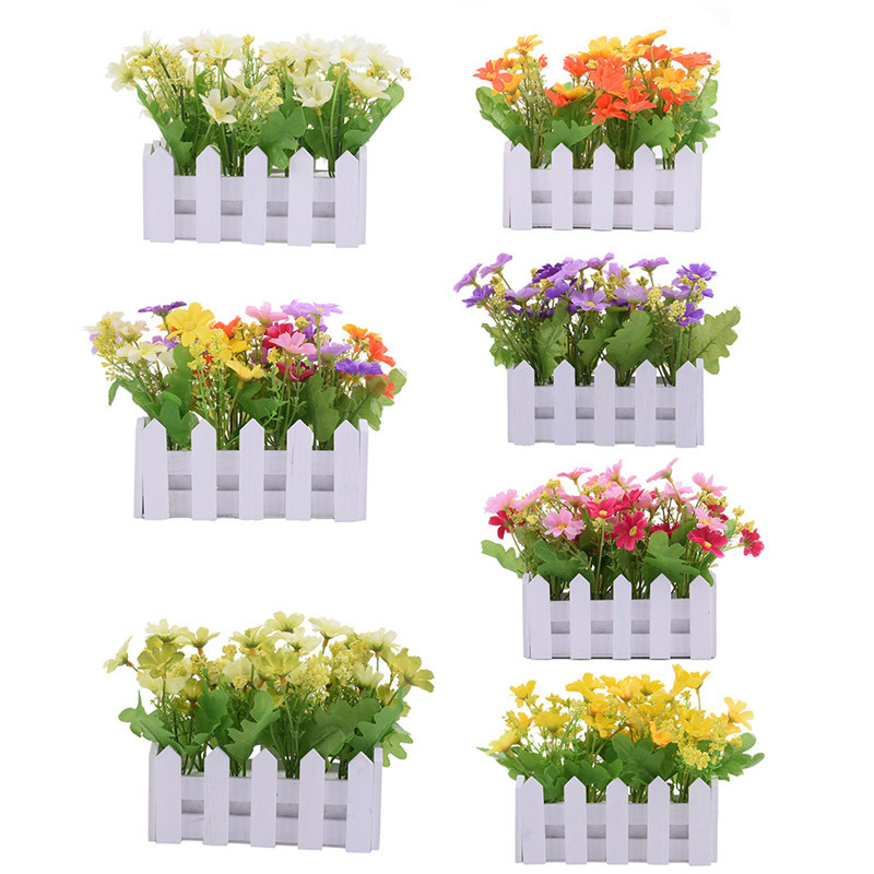 New artificial flowers small potted plant fake chrysanthemum set new artificial flowers small potted plant fake chrysanthemum set in picket fence for home living room wedding decoration mightylinksfo
