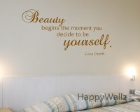 Motivational Quote Wall Sticker Beauty Begins The Moment ...