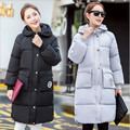 2016 autumn and winter new Korean Women long sections coat solid color hooded women padded down