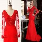 Red Long Sleeve Mermaid Prom Dresses