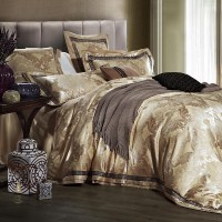 Luxury jacquard satin wedding bedding comforter set for ...