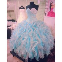 Shinny Blue and White Quinceanera Dresses Ball Gown ...