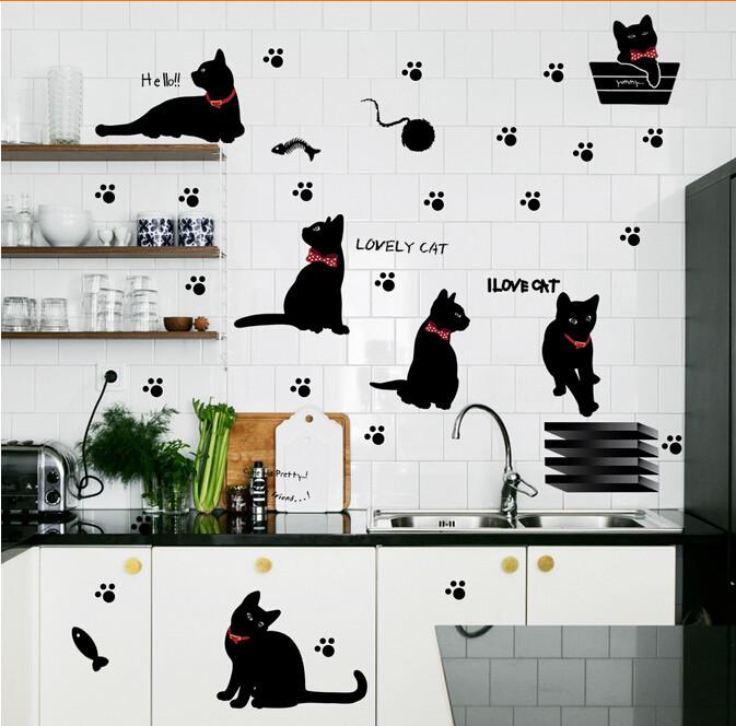 ᐅNuevo llegado pata del gato precioso peces jugando Wall sticker ...