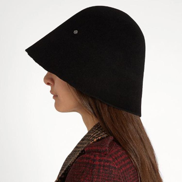 ᗖL europe feutre cloche chapeau double M standard noir casquettes ... 471b85d234f4