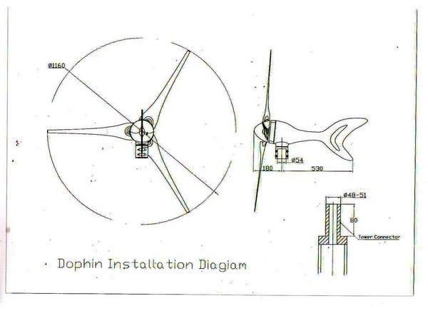 Max power 400w wind turbine generat with dolphin design