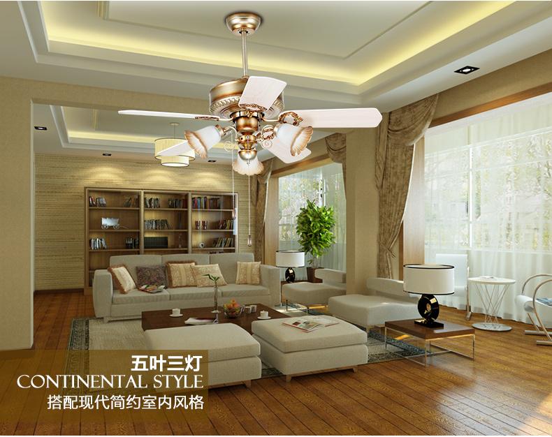 European retro Fan light ceiling Minimalism modern bedroom