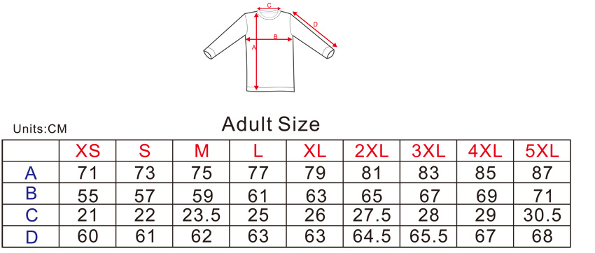 Item Sizes Chart: