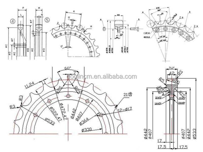 kobelco 굴삭기 excallent 장비 예비 부품/ sk120-3 스프로킷 휠-건설 기계 부품