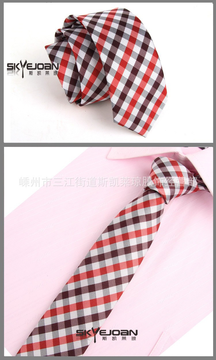 e0107b5dc ᐂOcasional dos homens Vermelho Branco Clássico Skinny Slim Gravata ...