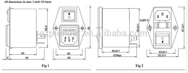 PE8300-3-01 3A 120V/250V Emi Emc Filter for TV Equipments