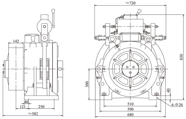 Elevator Geared Traction Machine,Elevator Safety Gear On