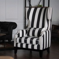 Black White Stripe Fabric Wing Chair - Buy Stripe Fabric ...