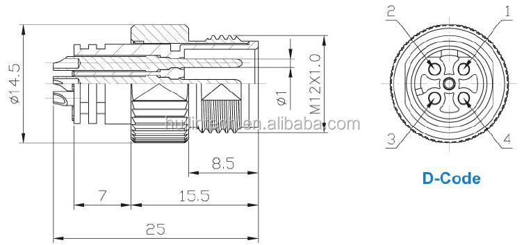Straight Cable Circular Apex Amphenol M12 Ip67 4 Pin