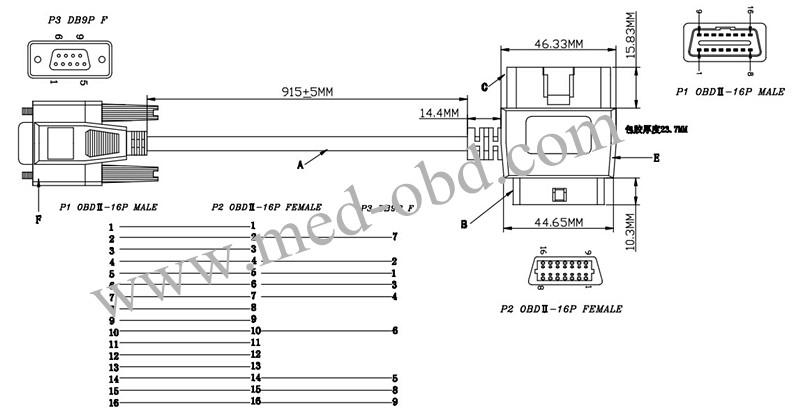 OBD2 Cable, J1962m/f to DB9f cable ,1.5m|YS-obd2mf-db9f