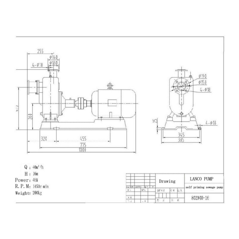 Ocean 25zw8-15 Type Non Plugging Sewage Self Priming Pump