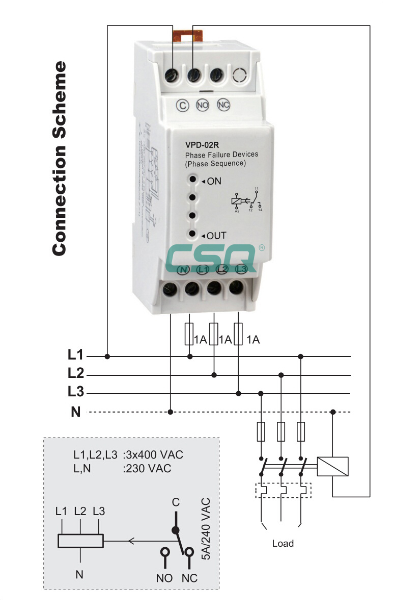 Phase Wiring Diagram Vdp 02r 220v Phase Failure And Sequence Relay Buy Phase