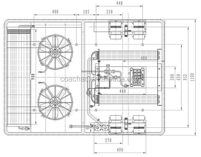 KT-12 12v/24 volt 12Kw roof mounted van air conditioner