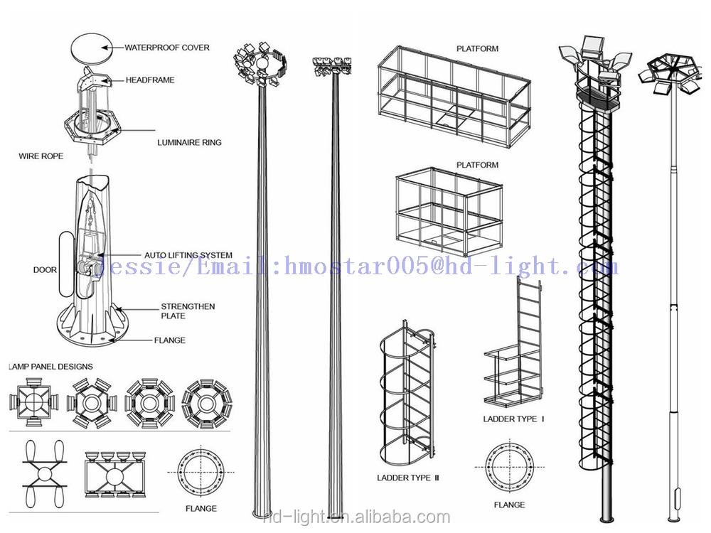High Mast Flood Lighting Poles,25 Meter High Mast Light