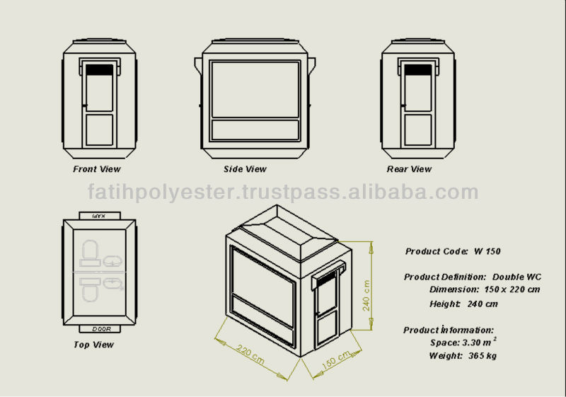 220 x 270 cm Fiberglass Portable Toilet / Shower