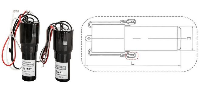 Hard Start Capacitor 1/4-1/3hp 115vac 243-292uf Rco410