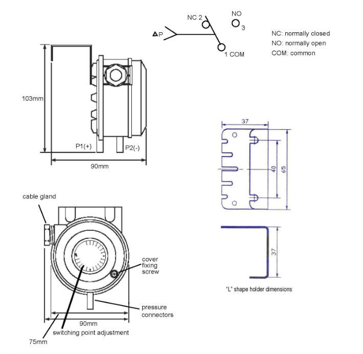 Adjustable Differential Pressure Switch For Hvac System