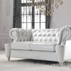 Faux Leather Chesterfield Sofa Curved Banquette #ls168 Luxury Gold/white/metal Crystal Button ...