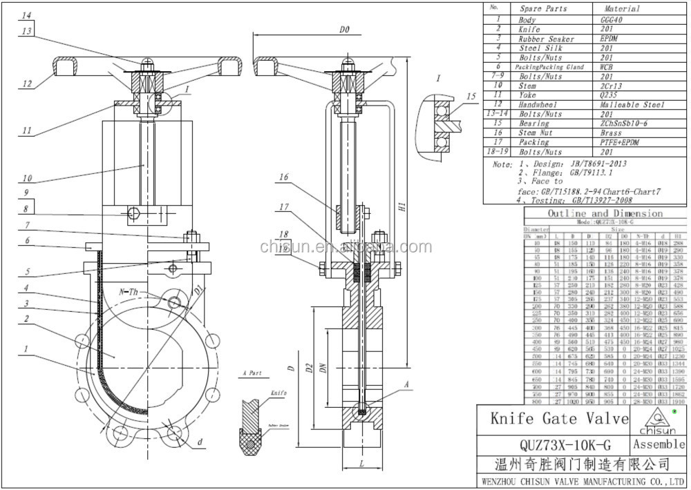 Qu Sewage Treatment Bi-directional Rubber Sealing Pn16
