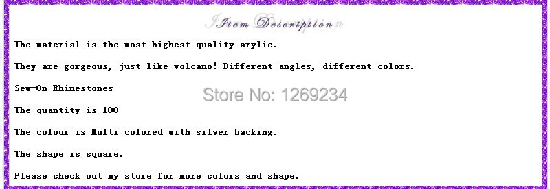 100pcs Square multi-colored 9 20mm sew on Arcyl crystal rhinestone flatback  strass Diamond accessory gemstone loose beads 372e932cc699