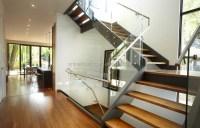 U shape wood straight prefab stairs/double steel stringer ...