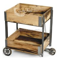 Industrial Wooden Bar Cart With Wheels - Buy Industrial ...