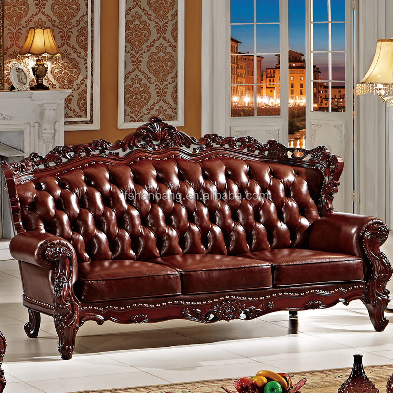 Luxe europenne franaise Baroque Rococo salon de Style classique en bois sculpt en cuir d