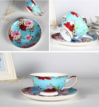 Blue Fine Bone China Tea Cup Vintage Bulk Tea Cups And