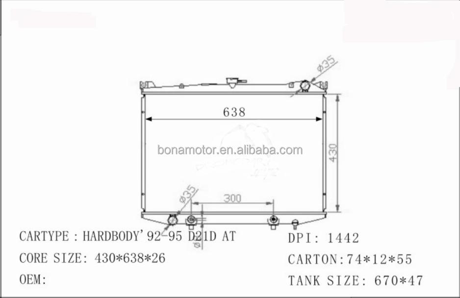 A/C Radiator For NISSAN HARDBODY 92-95 D21D 2141010G10