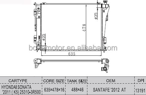 A/c Radiator For Hyundai Sonata 2011 25310-3r500 Radiator