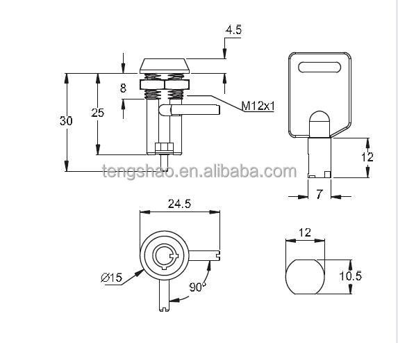 Pin Mechanism Tubular Key Small Cam Lock Electric Key