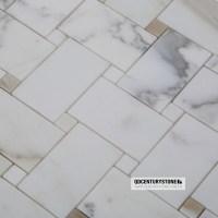 Classic Bathroom Floor Parquet 2'' Calacatta Marble White ...
