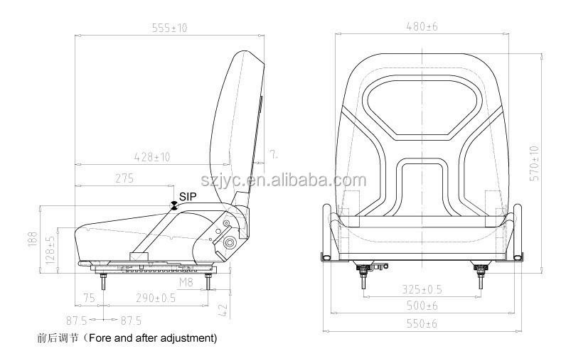 Backrest Adjustable Forklift Parts Forklift Seat Pvc