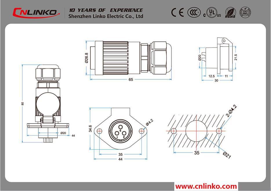 5 Plug Pino e Soquete Elétrico de 5 Pinos Conectores Macho