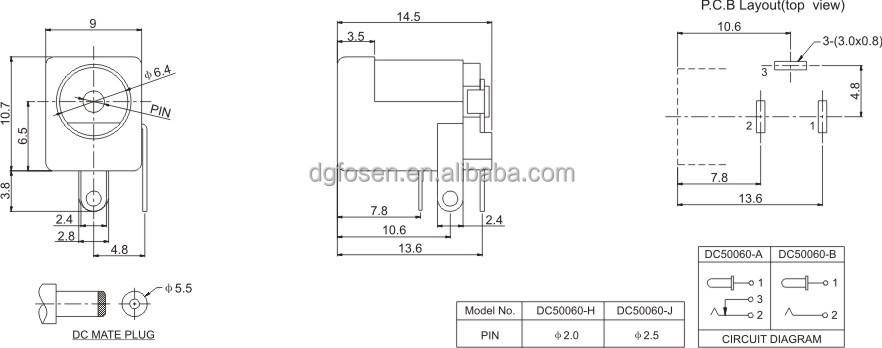 Hot Sale 5.5mm Center Pin Through Hole Dc Power Jack