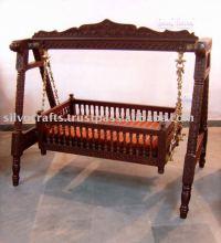 Carved teak wood baby swing cradle bed, View Carved teak ...