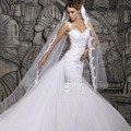 Gown patterns beautiful illusion back beaded lace mermaid tail wedding