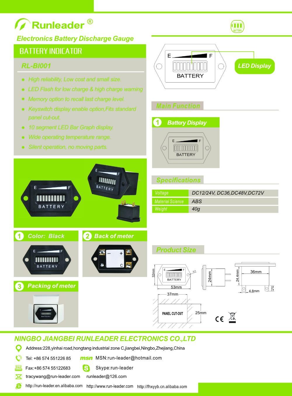 Free Shippingled State Battery Charge Indicator 12v24v24v36v 36v Wiring Diagram Connection